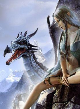 Фэнтези, Девушка и дракон
